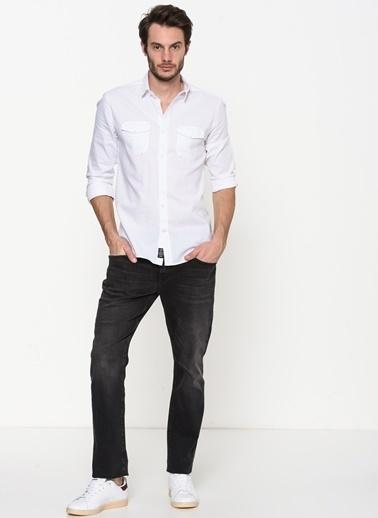 Uzun Kollu Slim Fit Gömlek-Mavi